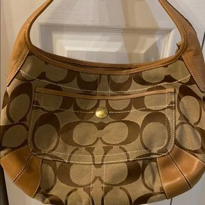 Coach Signature Hobo Bag Light Brown Leather Trim